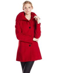 Kensie - Single-breasted Wool-blend Coat With Oversized Collar - Lyst