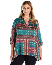 Rafaella - Plus Size Spice Market Patchwork Printed Crinkle Poly Top - Lyst