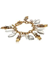 Badgley Mischka - Leaf And Pearl Shaky Charm Bracelet - Lyst