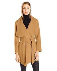 Nanette Lepore - Double Faced Wool Blend Wrap Coat With Patch Pockets - Lyst