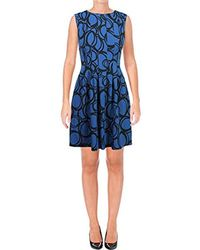 Anne Klein - Sleeveless Vertical Seamed Fit & Flare Printed Dress - Lyst