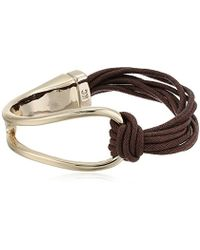 Kenneth Cole - Textured Metals Gold And Brown Corded Bracelet - Lyst