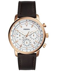 Fossil - Goodwin Chronograph Brown Leather Watch - Lyst