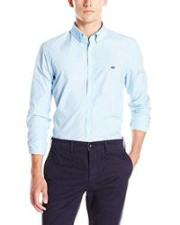 Lacoste - City Long Sleeve Button Down End On End Regular Fit - Lyst