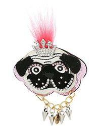 Betsey Johnson - White And Black Dog Brooch And Pin - Lyst