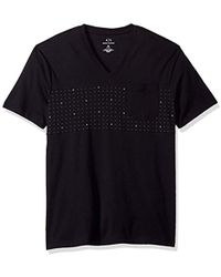 Armani Exchange - | X Micro Print Short Sleeve V Neck Tee - Lyst