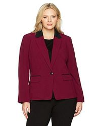 Nine West - Plus Size 1 Button Notch Collar Bi Stretch Jacket - Lyst