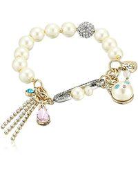 Betsey Johnson - Angel Cat Pearl Charm Bracelet - Lyst