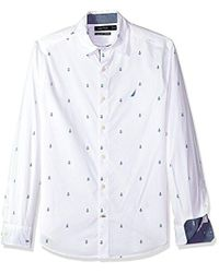Nautica - Classic Fit Long Sleeve Print Pattern Button Down Shirt - Lyst