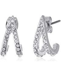 "Laundry by Shelli Segal - ""sunset Boulevard"" V Pave Huggie Crystal/rhodium Stud Earring - Lyst"