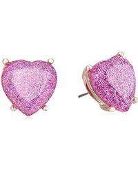 Betsey Johnson - Glitter Heart Stud Earrings - Lyst