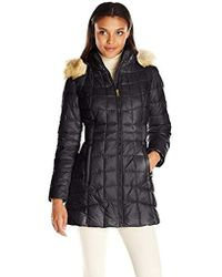Jones New York - Polyfill Mid Length Coat With Sherpa Lined Hood - Lyst
