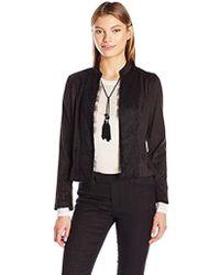 Nanette Nanette Lepore - L/s Fauxsuede Jacket With Lace Front - Lyst
