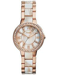 Fossil - Virginia Quartz Stainless Steel And Horn Acetate Dress Watch, Color Rose Gold-tone (model: Es3716) - Lyst