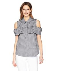 CALVIN KLEIN 205W39NYC - Striped Cold Shoulder Ruffle Blouse - Lyst