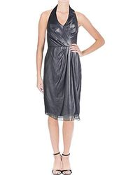 Vera Wang Sleeveless Halter Cocktail Dress - Blue