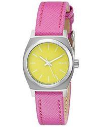 Nixon - A5092081 Small Time Teller Leather Analog Display Analog Quartz Watch - Lyst