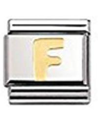 Nomination Composable Classic Buchstaben Edelstahl und 18K-Gold (F) 030101 - Mettallic