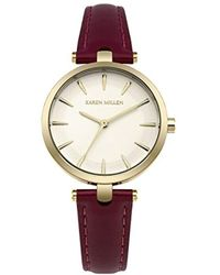 Karen Millen - Quartz Gold-tone And Leather Casual Watch, Color:red (model: Km153vg) - Lyst