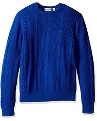 Lacoste - Long Sleeve Resort Cotton Cable Crewneck, Ah9214-51 - Lyst