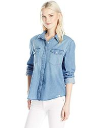 Volcom - Junior's Cham Hey Chambray Long Sleeve Button Up Shirt - Lyst