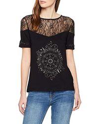 Desigual T-Shirt Short Sleeve Cannes Woman Black Camiseta para Mujer