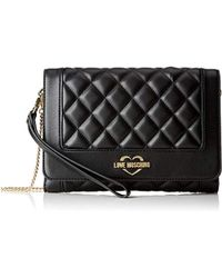 b0021ad072c3 Love Moschino Women s Illustrated Clutch Bag in Black - Lyst