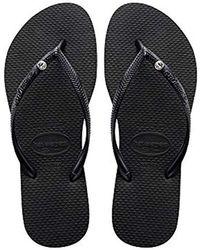 Havaianas - Slim Crystal Glamour Swarovski Flip Flops Black - Lyst