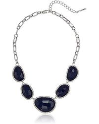 T Tahari - Mystic Sands Frontal Statement Necklace With Stones, Silver, One Size - Lyst