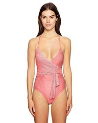 Vince Camuto - S Sailor Stripe V-neck Wrap Tie One-piece Swimsuit W/removable Soft Cups - Lyst