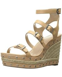 c556f49dc00 Lyst - Clarks Caslynn Harp Leather Wedge Sandals in Natural