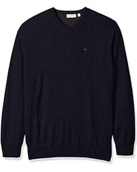 Calvin Klein - Big And Tall Merino Solid V-neck Sweater - Lyst