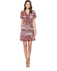 Ella Moon - Kelli Short Sleeve V-neck Border A-line Dress - Lyst