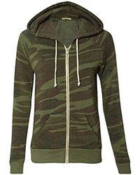 Alternative Apparel - Adrian Fleece Zip Front Hoodie Sweatshirt - Lyst