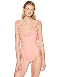 Kenneth Cole Reaction - Ruffle Sleeve Scoop Neck One Piece Swimsuit - Lyst