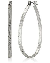 Lucky Brand - S Textured Medium Oblong Hoops - Lyst