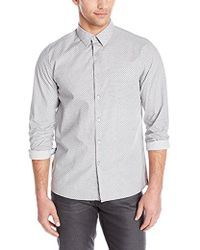 Kenneth Cole - Long Sleeve Printed Woven Shirt - Lyst