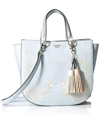 Guess - Nessa Embroidered Satchel Sky - Lyst