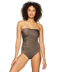 CALVIN KLEIN 205W39NYC - Solid Sweetheart Starburst Bandeau One Piece Swimsuit - Lyst