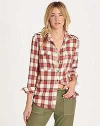 Billabong - Long Venture Out Plaid Top - Lyst
