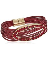 "Kenneth Cole - ""red Items Corded With Oval Red Tonal Sprinkle Stone Bracelet - Lyst"