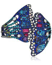 Betsey Johnson - Butterfly Purple Metallic Butterfly Wing Hinged Cuff Bracelet - Lyst