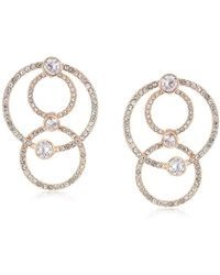 Anne Klein - Rose Gold Tone Post Pave Orbital Drop Earrings, Rose Gold, One Size - Lyst