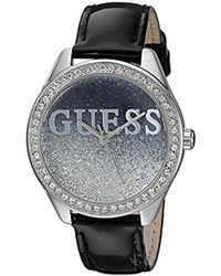 Guess - U0823l2 Trendy Silver-tone Watch With Black Dial , Crystal-accented Bezel And Genuine Leather Strap Buckle - Lyst
