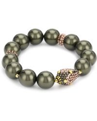 Miguel Ases - Ocean Pearl And Rose Gold Beaded Station Stretch Bracelet - Lyst
