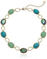 Anne Klein - Gold Tone And Turquoise Stone Faceted 16 Inch Stone Collar Necklace - Lyst