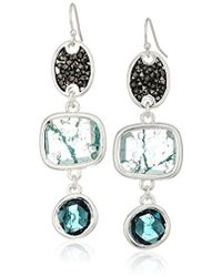 Kenneth Cole - Mixed Crackle Stone Linear Earrings - Lyst