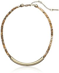 Kenneth Cole - Gold Frontal Bar With Mesh Tube Choker Necklace - Lyst