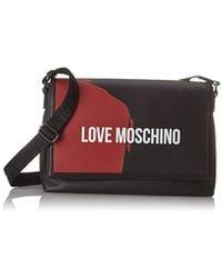 Love Moschino - Borsa Saffiano Pu Nero-rosso - Lyst