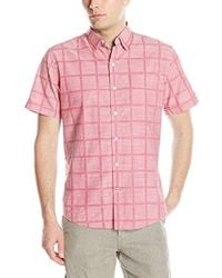Izod - Saltwater Dockside Chambray Windowpane Short Sleeve Shirt - Lyst
